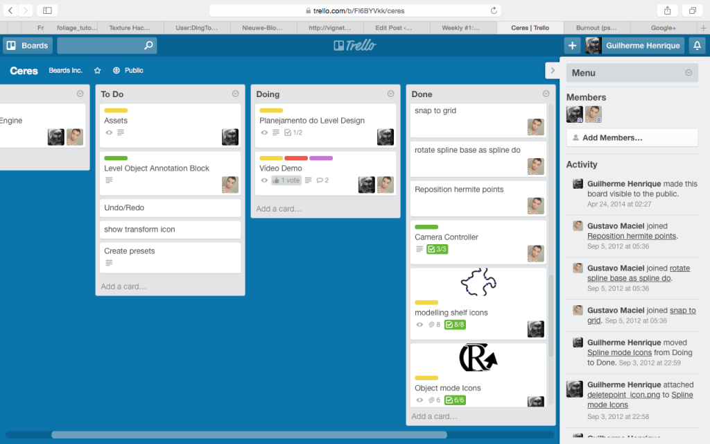 Old trello management board of a Engine we're developing